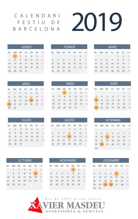 calendari festiu barcelona 2019