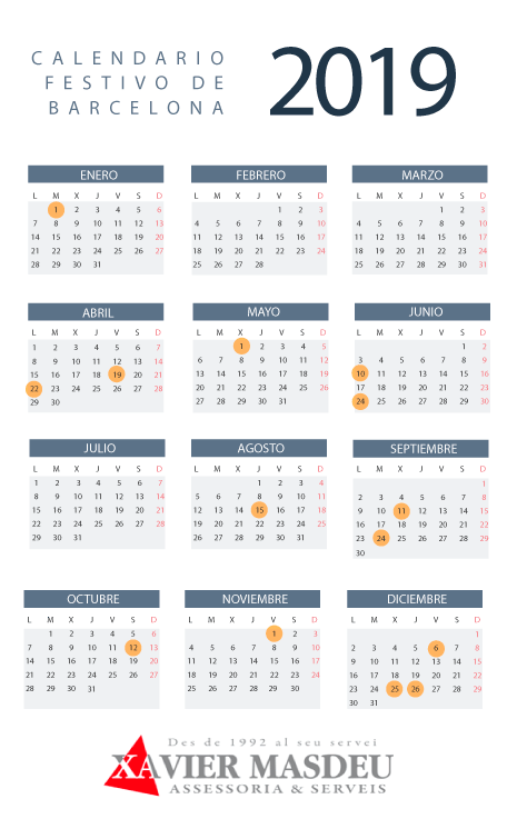 Calendario laboral barcelona 2019
