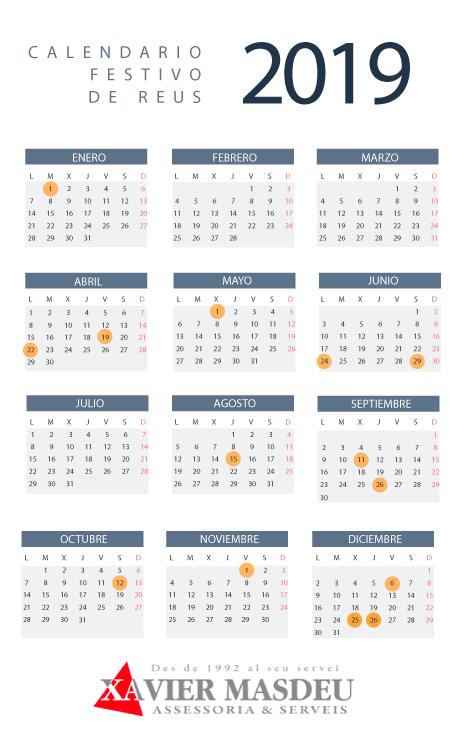 Calendario festivo Reus 2019