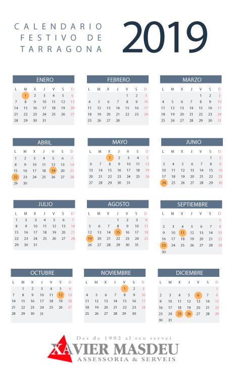 Calendario Festivo.Calendario Laboral Tarragona 2019 Assessoria I Serveis